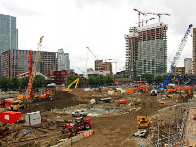 Ground level of new building construction site